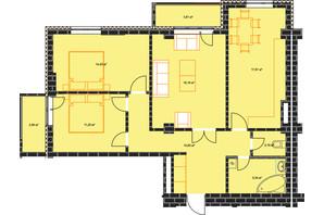 ЖК по ул. Независимости 146а: планировка 3-комнатной квартиры 88.15 м²