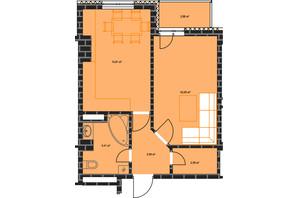 ЖК по ул. Независимости 146а: планировка 1-комнатной квартиры 42.65 м²