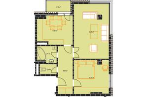 ЖК по ул. Независимости 146а: планировка 2-комнатной квартиры 63.93 м²
