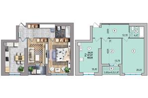 ЖК по ул. Независимости 25: планировка 2-комнатной квартиры 69.04 м²