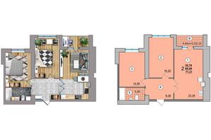 ЖК по ул. Независимости 25: планировка 2-комнатной квартиры 71.21 м²