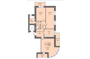 ЖК по ул. П. Орлика 7: планировка 3-комнатной квартиры 93.34 м²