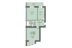 ЖК по ул. П. Орлика 7: планировка 2-комнатной квартиры 74.94 м²