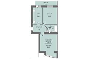 ЖК по ул. П. Орлика 7: планировка 2-комнатной квартиры 74.95 м²