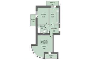 ЖК по ул. П. Орлика 7: планировка 2-комнатной квартиры 70.62 м²