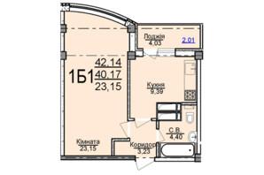 ЖК по ул. Пушкина: планировка 1-комнатной квартиры 42.14 м²