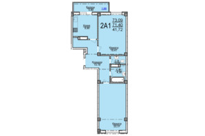 ЖК по ул. Пушкина: планировка 2-комнатной квартиры 73.09 м²