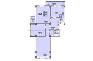 ЖК по ул. Пушкина: планировка 3-комнатной квартиры 99.18 м²