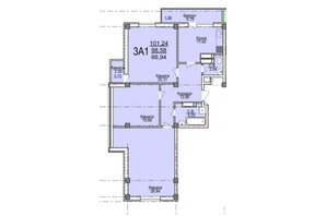 ЖК по ул. Пушкина: планировка 3-комнатной квартиры 101.24 м²