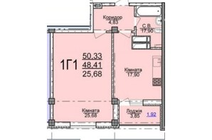 ЖК по ул. Пушкина: планировка 1-комнатной квартиры 50.33 м²