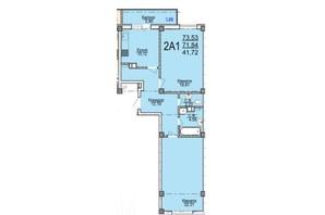 ЖК по ул. Пушкина: планировка 2-комнатной квартиры 73.18 м²