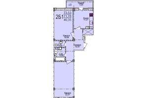 ЖК по ул. Пушкина: планировка 2-комнатной квартиры 73.53 м²