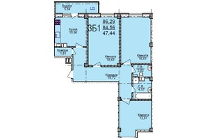 ЖК по ул. Пушкина: планировка 3-комнатной квартиры 86.29 м²