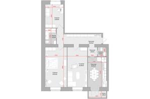 ЖК по ул. Троицкая, 74: планировка 3-комнатной квартиры 107 м²
