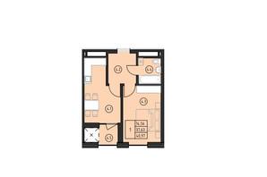 ЖК по ул. Замарстыновская: планировка 1-комнатной квартиры 40.97 м²