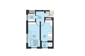 ЖК по ул. Замарстыновская: планировка 1-комнатной квартиры 48.31 м²