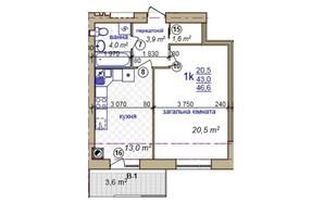 ЖК по ул. Жасминовая, 5: планировка 1-комнатной квартиры 47 м²