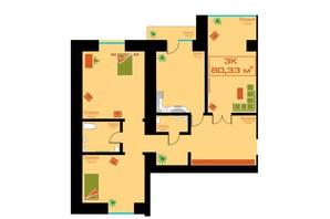 ЖК по ул. Железнодорожной 3: планировка 3-комнатной квартиры 80.33 м²