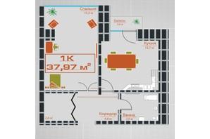 ЖК по ул. Железнодорожной 3: планировка 1-комнатной квартиры 37.97 м²