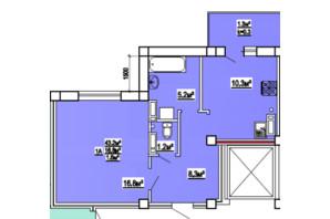 ЖК по вул. 3-й мікрорайон 8: планування 1-кімнатної квартири 43 м²