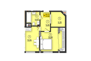 ЖК по вул. Довга 30а: планування 1-кімнатної квартири 42.73 м²