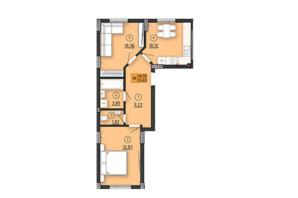 ЖК по вул. Довга 30а: планування 1-кімнатної квартири 48.59 м²