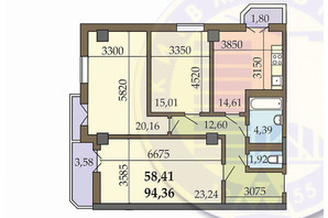 ЖК по вул. Гарматна: планування 3-кімнатної квартири 94.36 м²