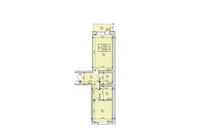 ЖК по вул. Мічуріна: планування 1-кімнатної квартири 54.02 м²