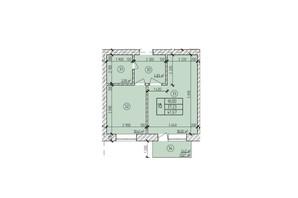 ЖК по вул. Мічуріна: планування 1-кімнатної квартири 41.67 м²