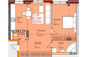 ЖК по вул. Мури: планування 1-кімнатної квартири 67.31 м²