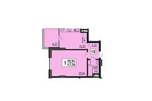 ЖК по вул. Миру 4В: планування 1-кімнатної квартири 47.56 м²