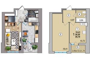 ЖК по вул. Незалежності: планування 1-кімнатної квартири 39.79 м²