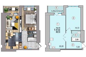 ЖК по вул. Незалежності: планування 1-кімнатної квартири 49.72 м²