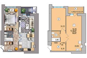ЖК по вул. Незалежності: планування 1-кімнатної квартири 52.07 м²