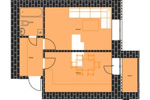 ЖК по вул. Незалежності: планування 1-кімнатної квартири 43.29 м²