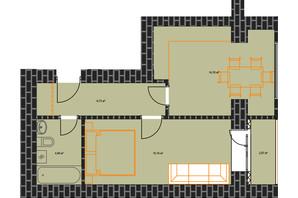 ЖК по вул. Незалежності: планування 1-кімнатної квартири 43.88 м²