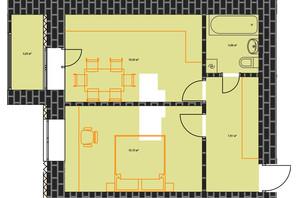 ЖК по вул. Незалежності: планування 1-кімнатної квартири 45.59 м²