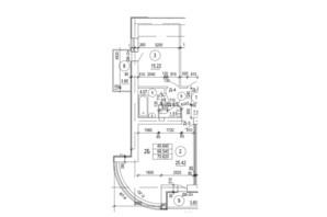 ЖК по вул. П. Орлика 7: планування 2-кімнатної квартири 70.62 м²