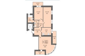 ЖК по вул. П. Орлика 7: планування 3-кімнатної квартири 93.34 м²
