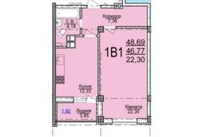 ЖК по вул. Пушкіна: планування 1-кімнатної квартири 48.69 м²