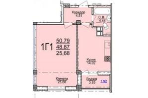 ЖК по вул. Пушкіна: планування 1-кімнатної квартири 50.97 м²