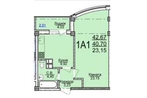 ЖК по вул. Пушкіна: планування 1-кімнатної квартири 42.67 м²