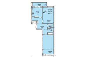 ЖК по вул. Пушкіна: планування 2-кімнатної квартири 73.09 м²