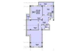 ЖК по вул. Пушкіна: планування 3-кімнатної квартири 101.24 м²