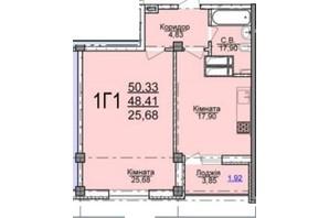 ЖК по вул. Пушкіна: планування 1-кімнатної квартири 50.33 м²