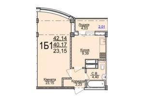 ЖК по вул. Пушкіна: планування 1-кімнатної квартири 42.14 м²