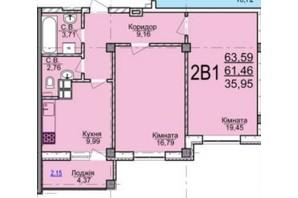 ЖК по вул. Пушкіна: планування 2-кімнатної квартири 63.59 м²