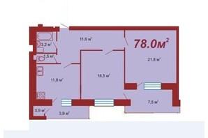 ЖК по вул. Стуса-Данилишиних: планування 2-кімнатної квартири 78 м²