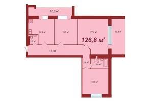 ЖК по вул. Стуса-Данилишиних: планування 3-кімнатної квартири 126.8 м²