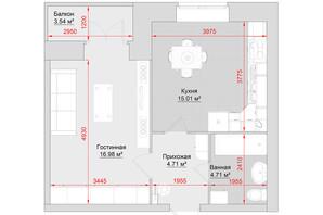 ЖК по вул. Троїцька, 74: планування 1-кімнатної квартири 45 м²